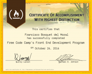 Certificado FrontEnd FreeCodeCamp